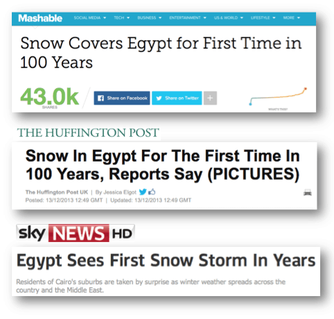 international coverage to snow in Egypt news