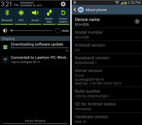 Android 4.3 for Galaxy S3.