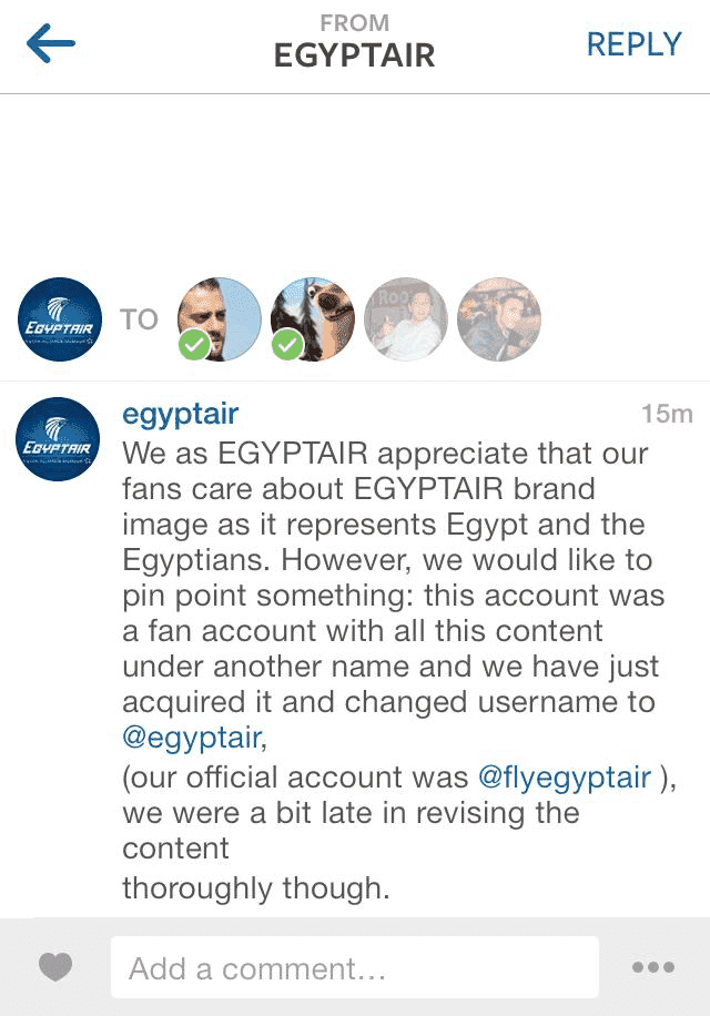 Egypt air clarification , Egyptair's translation mistake on Instagram