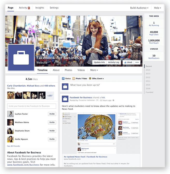 Facebook pages new look
