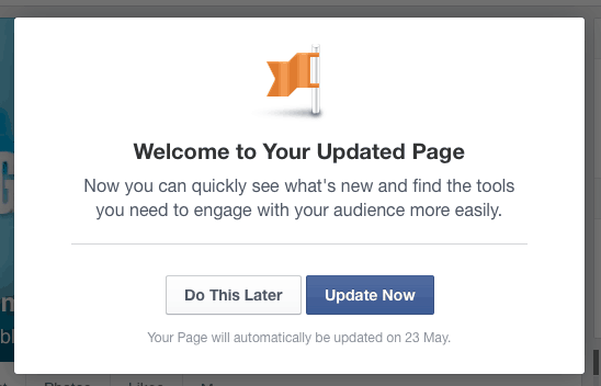 update your Facebook page design
