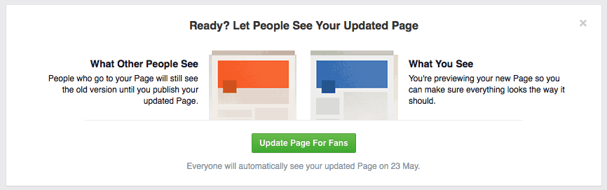 Facebook new page design