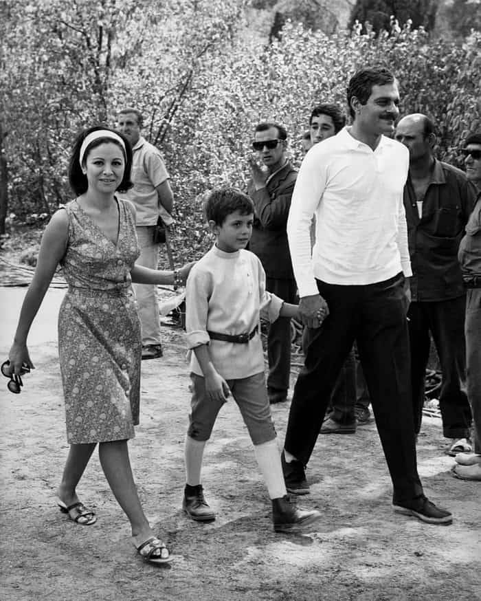 Omar Sharif: Precious Moments in Pictures, Omar Sharif with his wife, Faten Hamama, and their son, Tarek, 1965