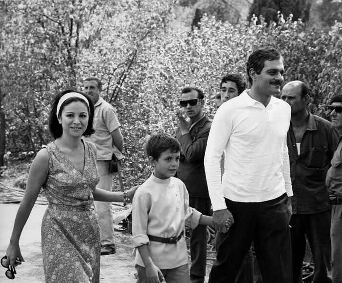 Omar Sharif with his wife, Faten Hamama, and their son, Tarek, 1965