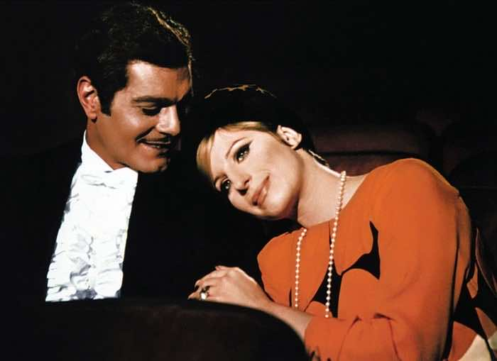 Omar Sharif with Barbra Streisand in Funny Girl, 1968