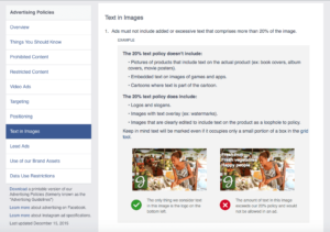 facebook text overlay update, 20 percent