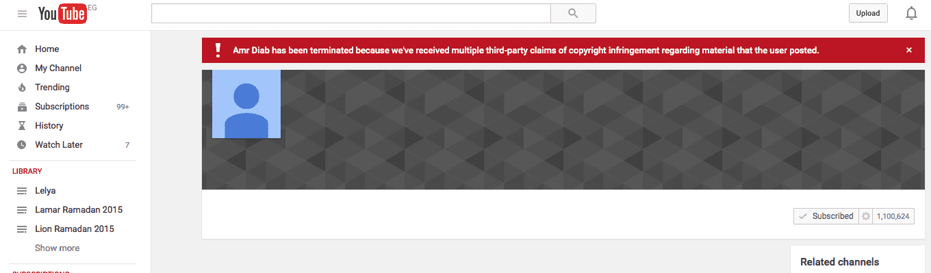 amr diab youtube channel has been terminated