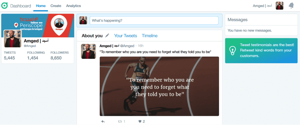 the about you section on dashboard by twitter