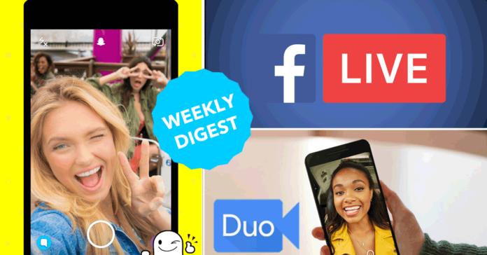 Google Duo, Apple FaceTime, Snapchat Vurb, Facebook live