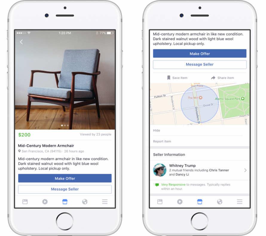 Item display on Facebook Marketplace
