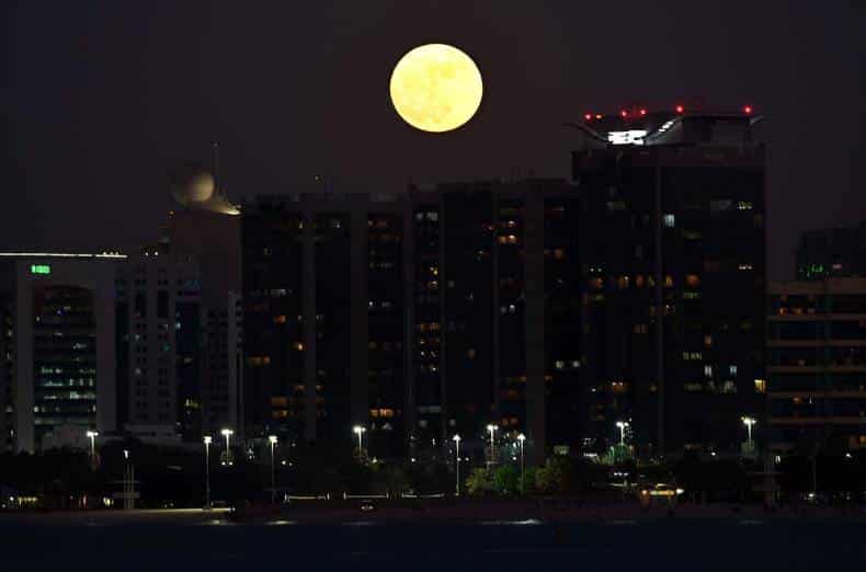 Supermoon at Abu Dhabi break water.