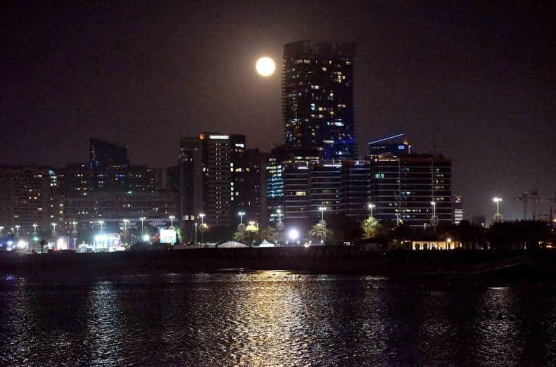 Supermoon at the Corniche in Abu Dhabi.