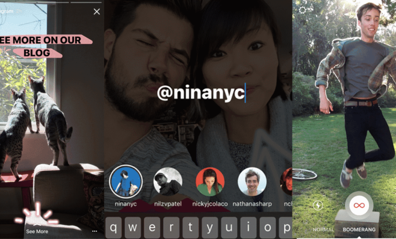 New to Instagram Stories: Boomerang, Mentions and Links