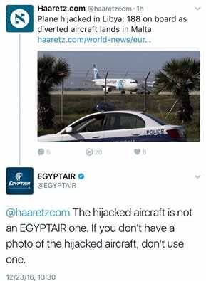 Egyptair, social media, Haaretz, Israel Egypt, Hijacked aircraft, plane hijacked, crisis management