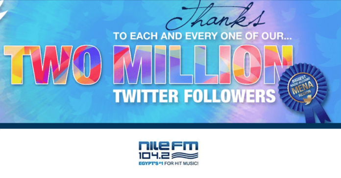 Nile FM, 2 million followers on twitter, Egypt, MENa region, most followed