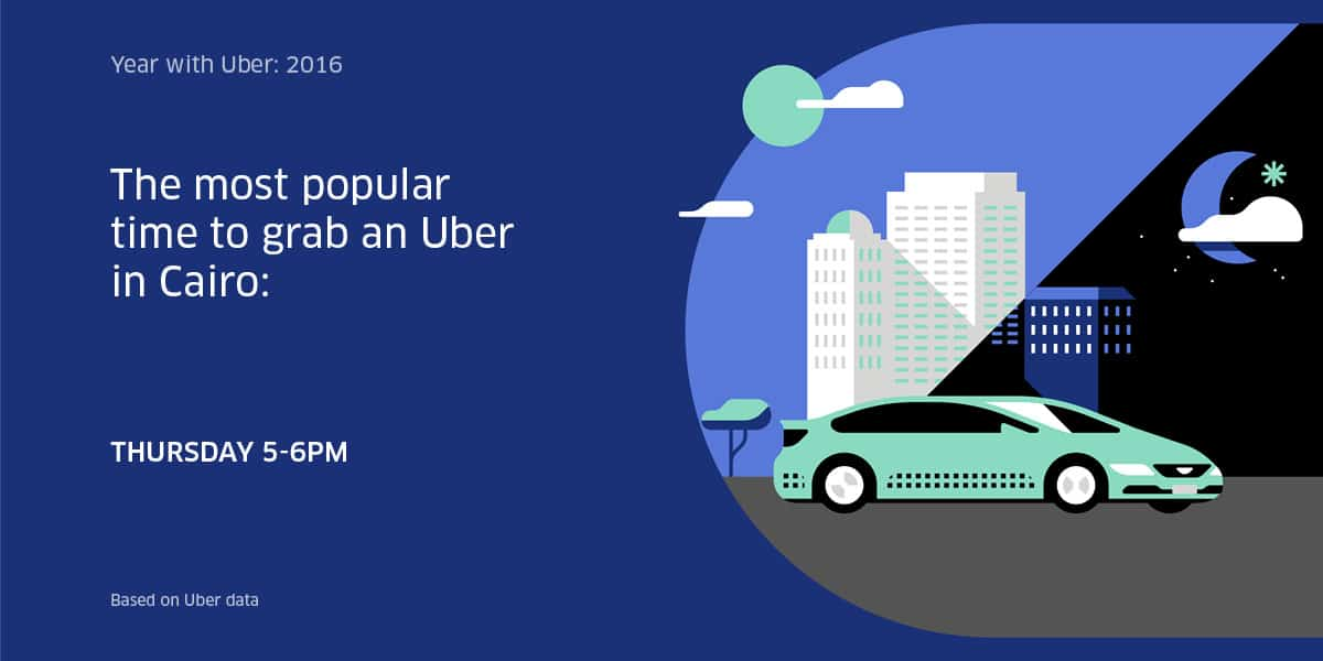 Most popular time for riders in Cairo is Thursday 5 to 6 pm, digital boom, uber egypt
