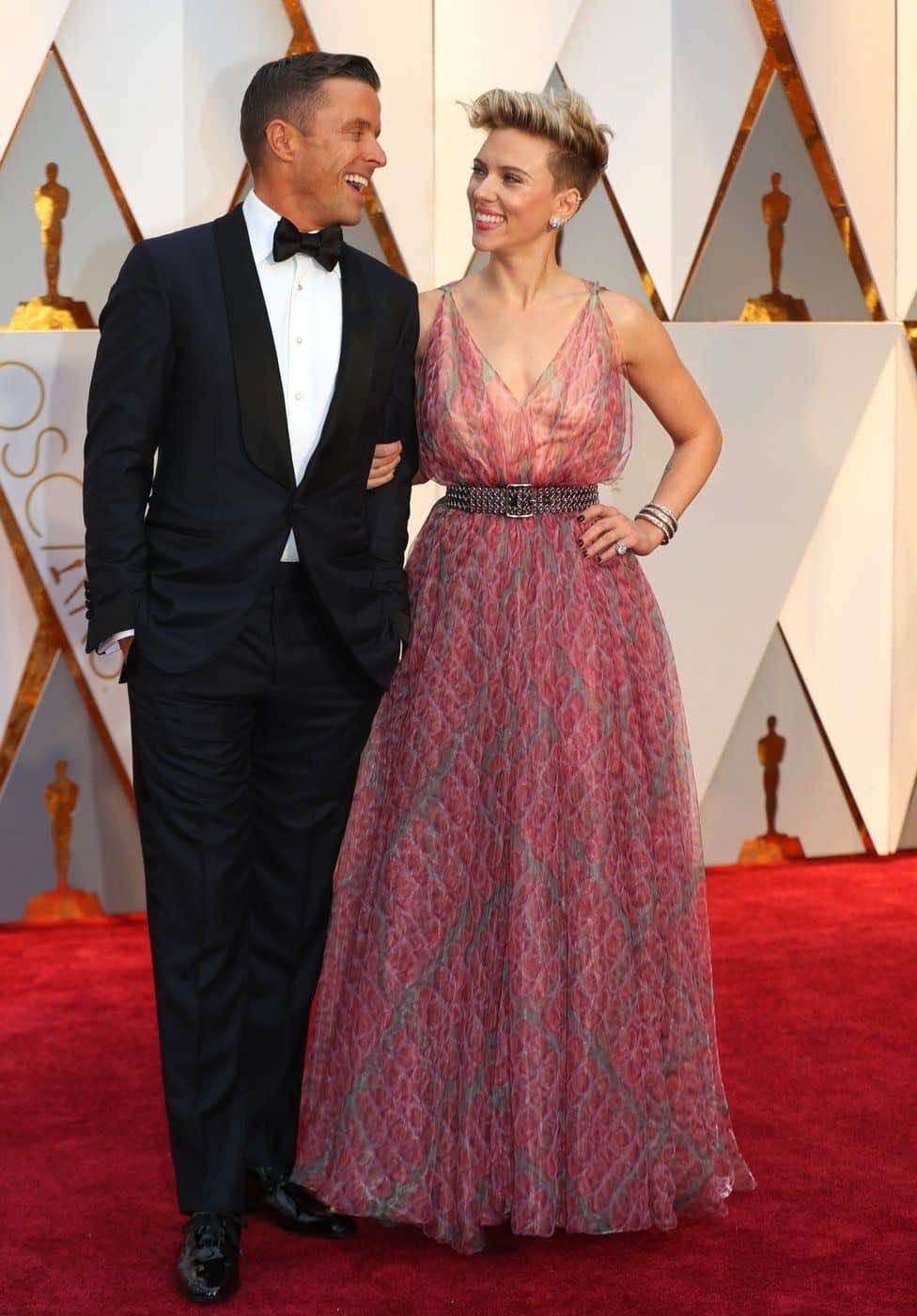 Actress Scarlett Johansson with her husband Romain Dauriac.