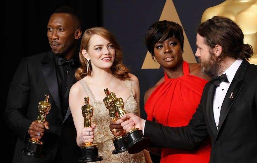 Best supporting actor winner Mahershala Ali, best actress winner Emma Stone, best supporting actress winner Viola Davis and best actor winner Casey Affleck