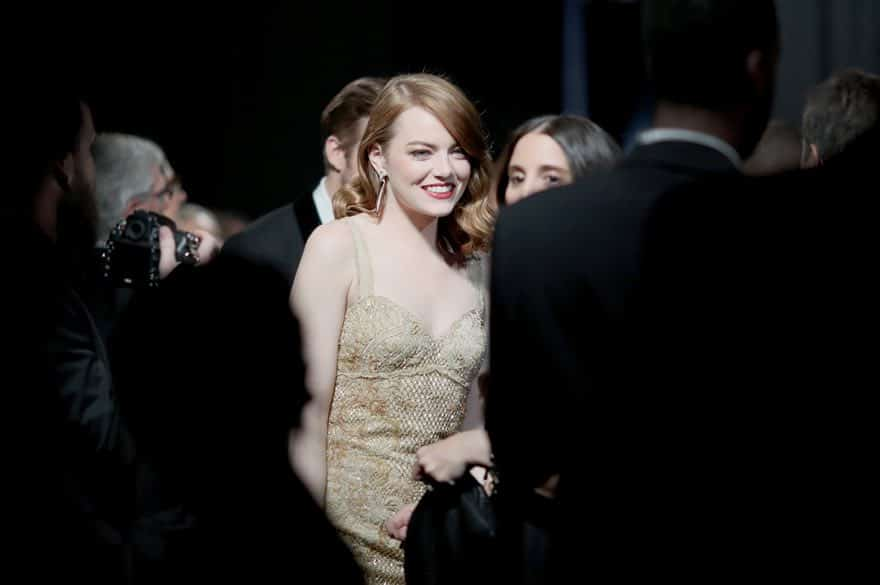 Emma Stone backstage Photograph- Christopher Polk:Getty Images