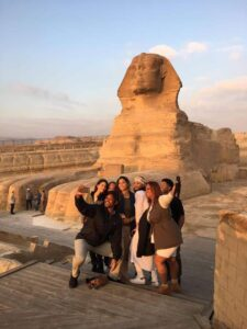 Will Smith taking selfie with his family and the Pyramids, Egypt