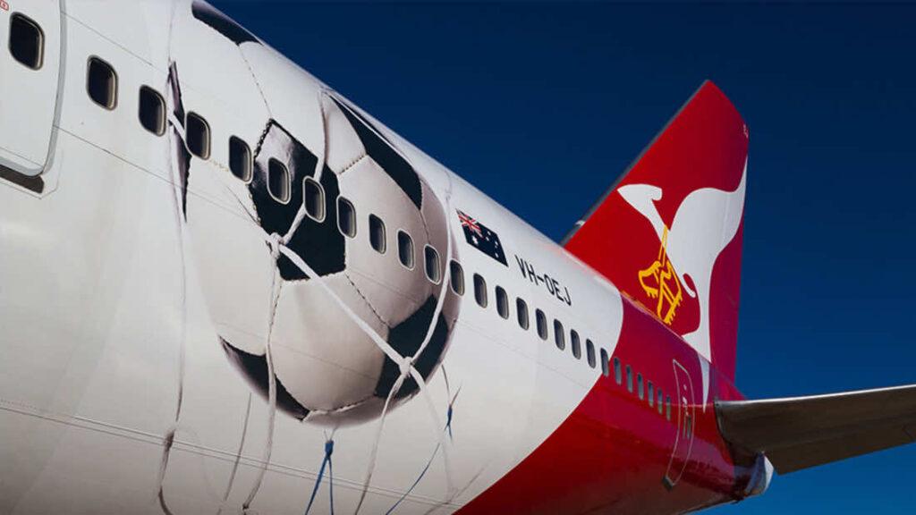 Australia national football team's airplane branding