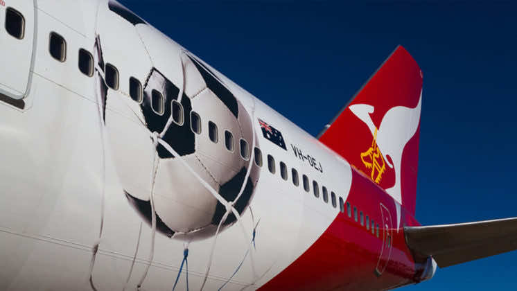 Australia national football team's airplane branding