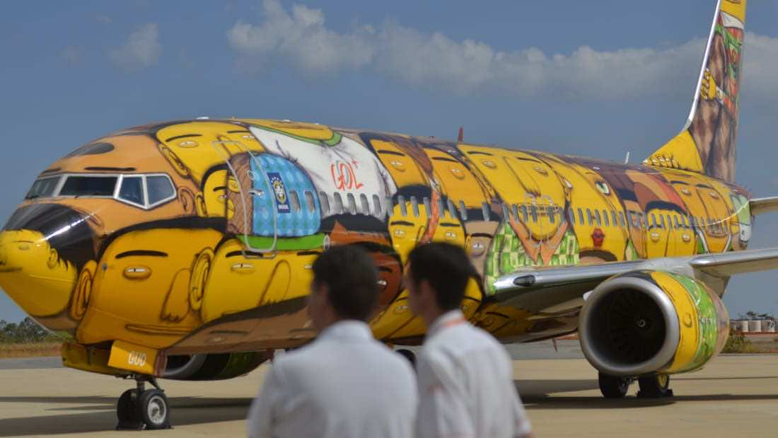 Brazil national football team's airplane branding