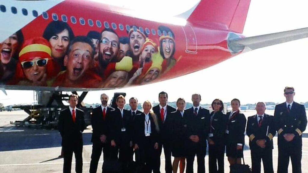 Spain national football team's airplane branding