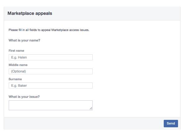 Facebook marketplace appeal form to restore access to buy and sell feature