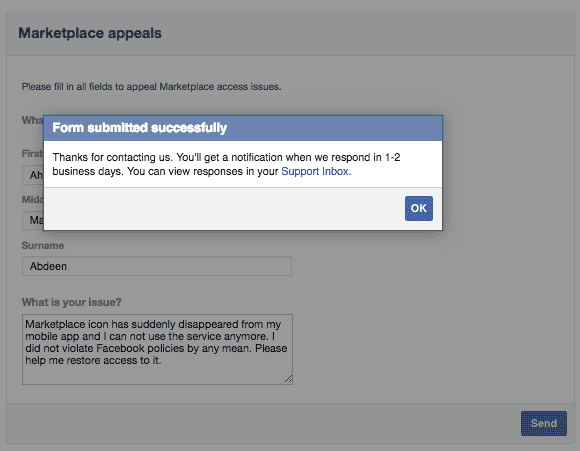 Facebook Marketplace isn't working, appeal form