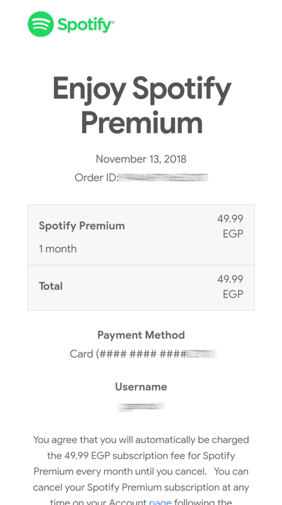 spotify premium costs EGP 49.99 per month middle east north africa