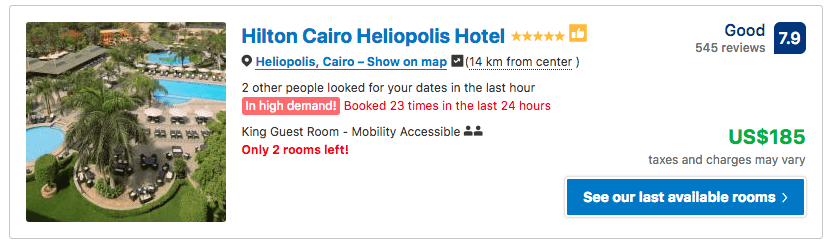 Source: Booking.com / Hilton Cairo Heliopolis Hotel prices on New Year's Eve 2019