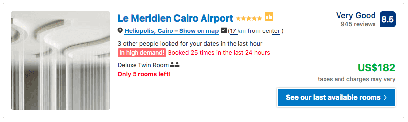 Source: Booking.com / Le Meridien Cairo Airport prices on New Year's Eve 2019