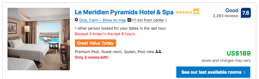 Source: Booking.com / Le Meridien Pyramids Hotel & Spa prices on New Year's Eve 2019