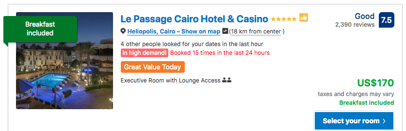 Source: Booking.com / Le Passage Cairo Hotel & Casino prices on New Year's Eve 2019