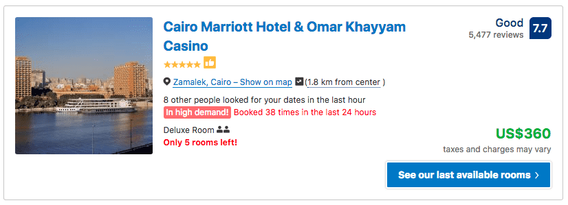 Source: Booking.com / Cairo Marriott Hotel & Omar Khayyam Casino prices on New Year's Eve 2019