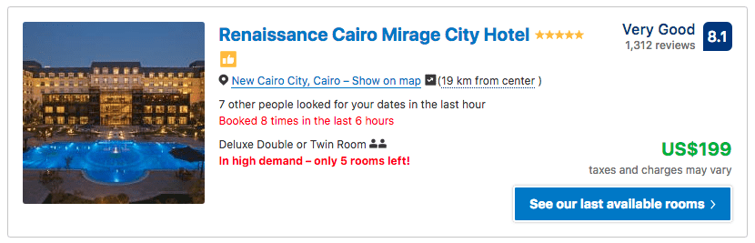 Source: Booking.com / Renaissance Cairo Mirage City Hotel prices on New Year's Eve 2019