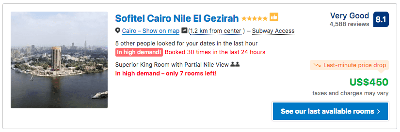 Source: Booking.com / Sofitel Cairo Nile El Gezirah prices on New Year's Eve 2019