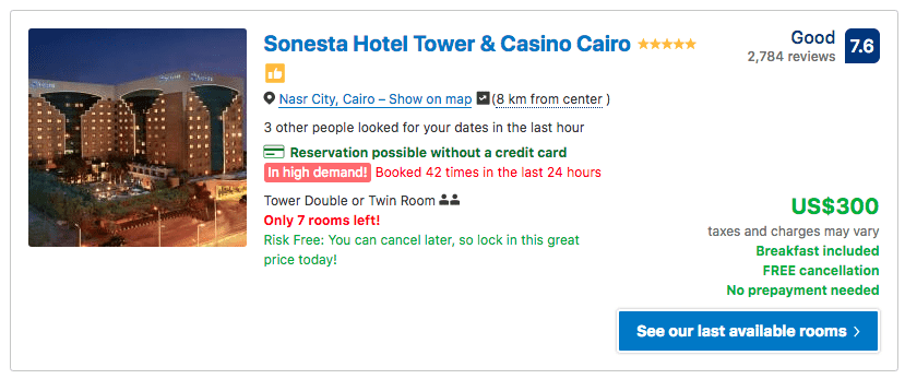 Source: Booking.com / Sonesta Hotel Tower & Casino Cairo prices on New Year's Eve 2019