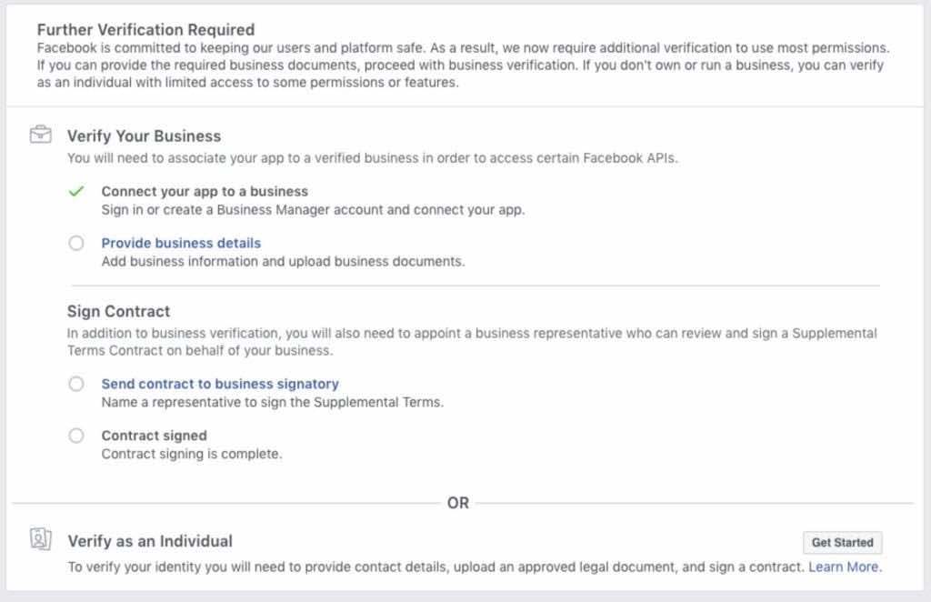 Facebook individual verification for developers