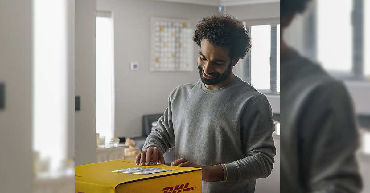 Mo Salah with DHL, Mohamed Salah Returns To Social Media With DHL Ad