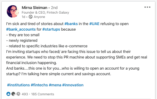 Mirna Sleiman on Linkedin, Silicon Valley's Tribal Credit Eyes MENA, Closing Round to Bank Startups